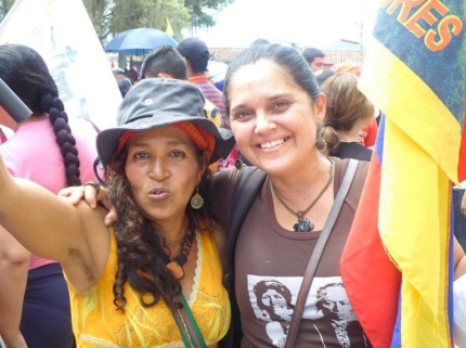 A Chilean comrade Giselle Rubilar (right) was murdered by fascists rioters while she was removing the barricades left by the opposition.