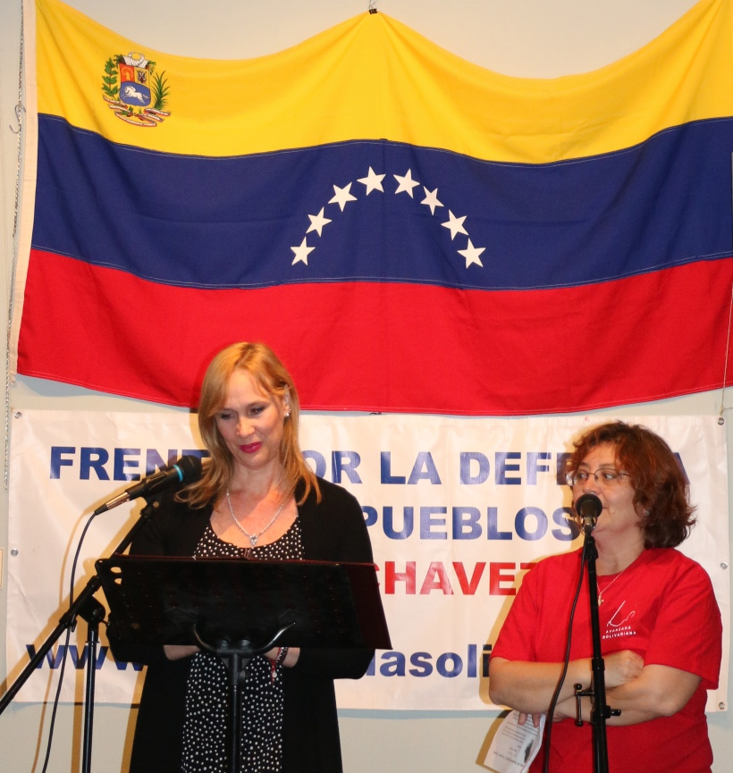 Martha Pardo, Consul of the Bolivarian Republic of #Venezuela in #Toronto, and Erika San Martin, from the Hugo Chavez Peoples' Defense Front .